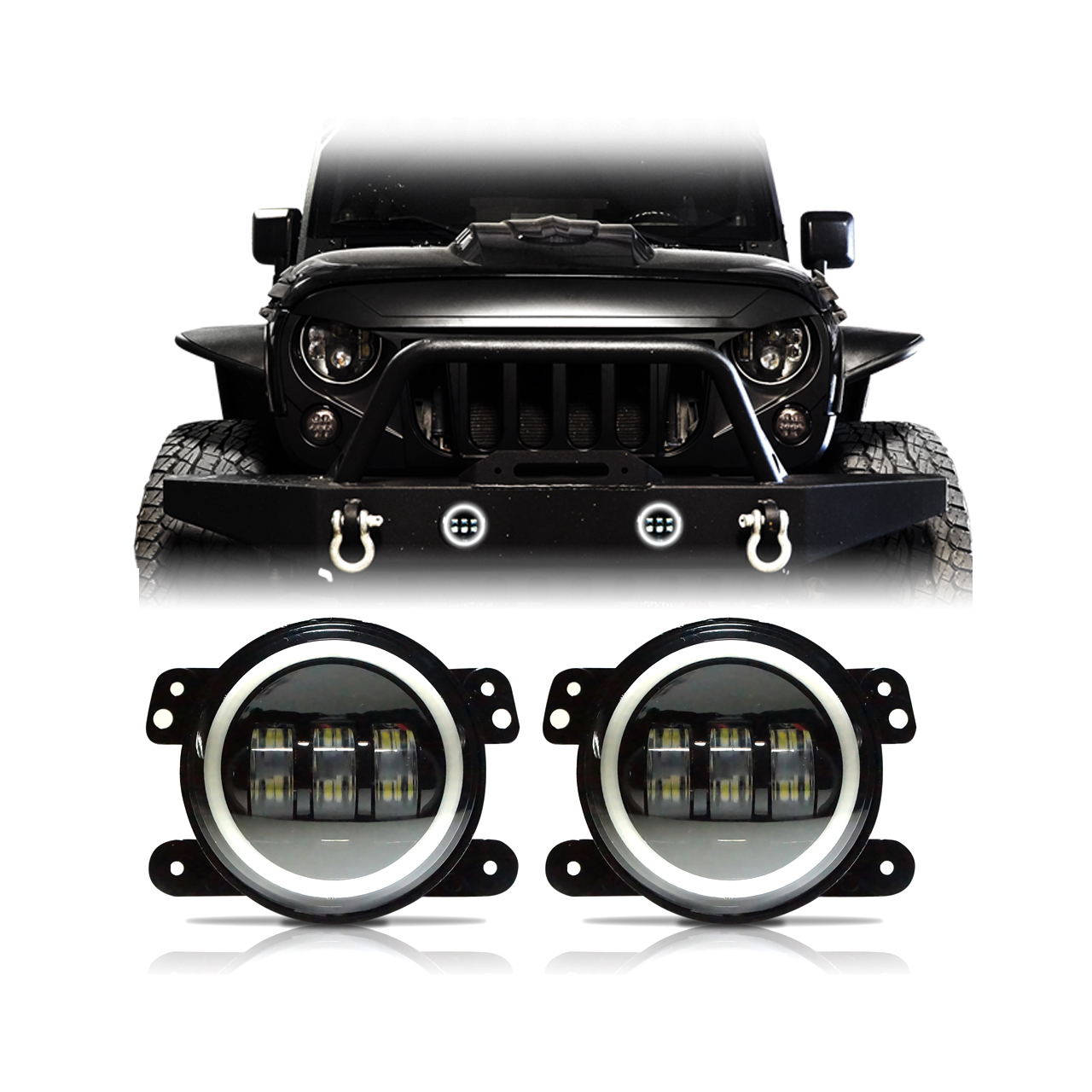 Jeep Wrangler Fog Lights >> 60w Cree Led Halo Fog Lights For Jeep Wrangler