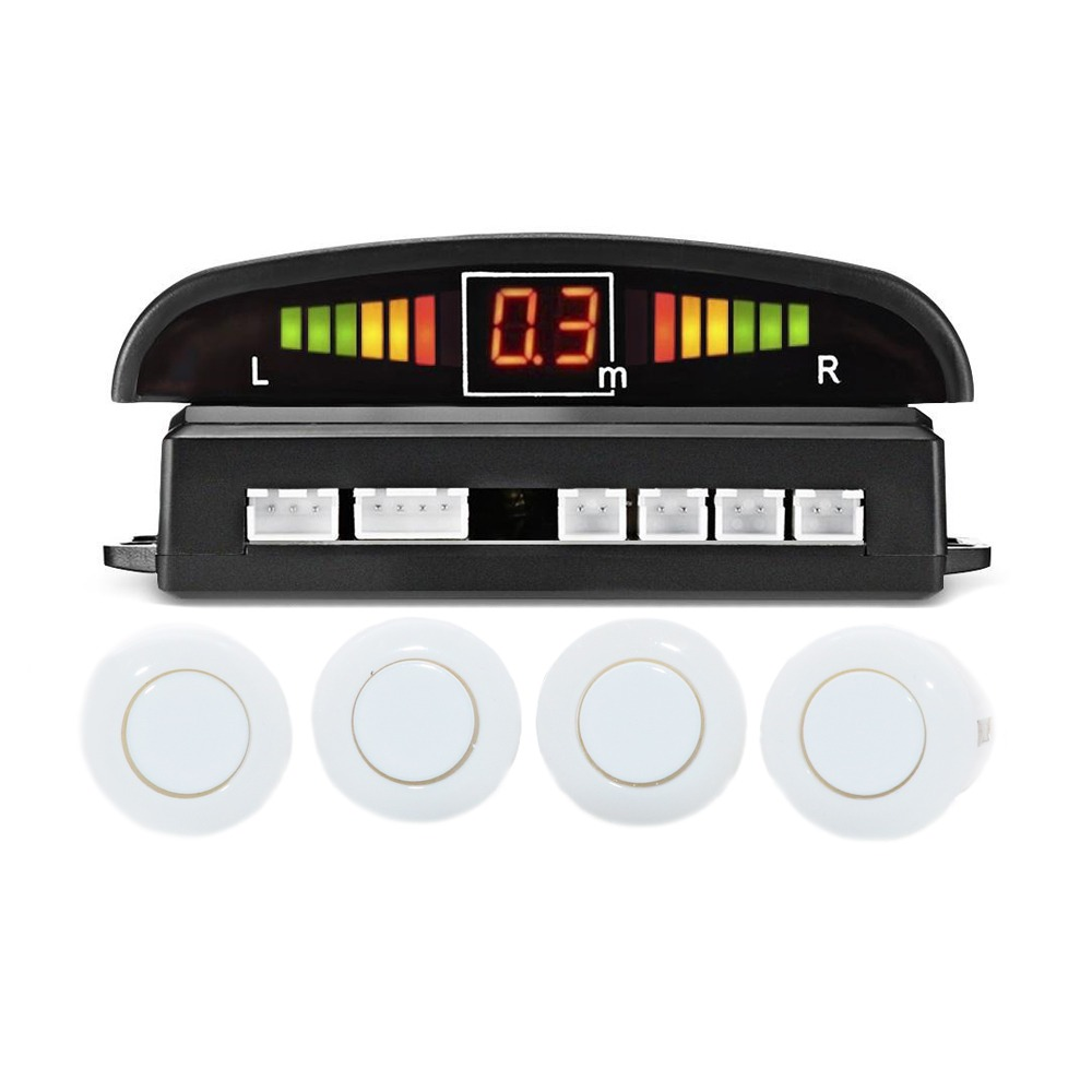 Car Parking Sensor White Color with LED Display Audio Alarm