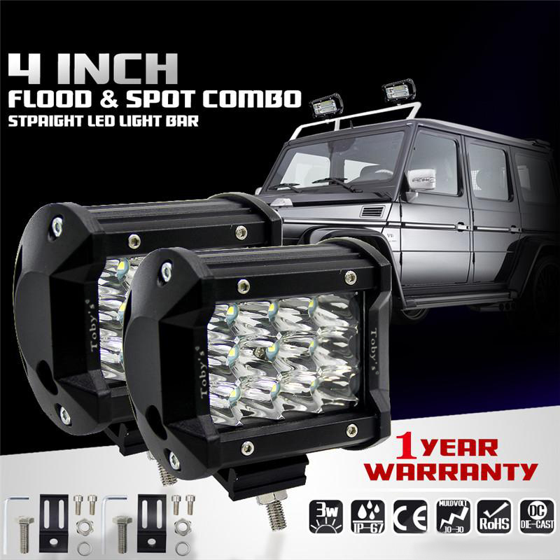 Tobys 36w Cree 2 Pieces Led Work Light